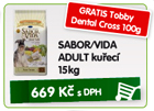 SABOR/VIDA ADULT ku�ec� 15kg - GRATIS Tobby Dental Cross 100g/669K�