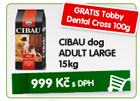 CIBAU dog ADULT LARGE 15kg - GRATIS Tobby Dental Cross 100g/999K�