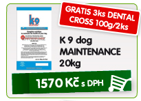 K 9 dog MAINTENANCE 20kg - GRATIS 3ks DENTAL CROSS 100g/2ks / 1.570kč