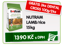NUTRAM LAMB/RICE 15kg - GRATIS 3ks DENTAL CROSS 100g/2ks / 1.390kč
