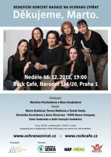 Pozvánka: Benefiční koncert Nadace na ochranu zvířat - Děkujeme, Marto