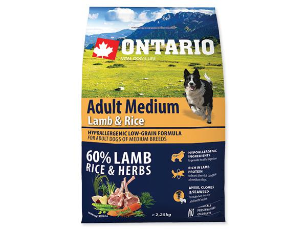 ONTARIO dog  ADULT MEDIUM lamb - 2,25kg