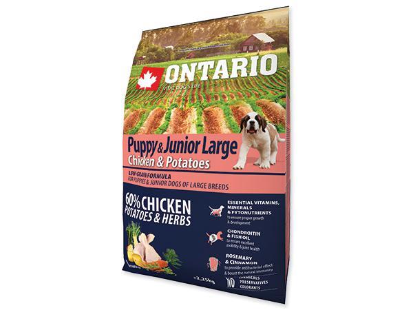 ONTARIO dog JUNIOR LARGE chicken - 15kg + 5kg GRATIS