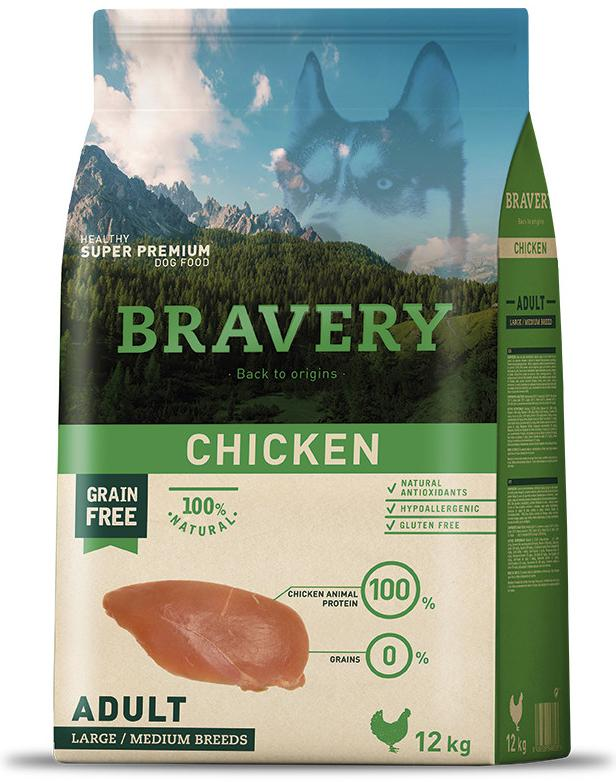 VZOREK - BRAVERY dog ADULT largemedium CHICKEN - 70g