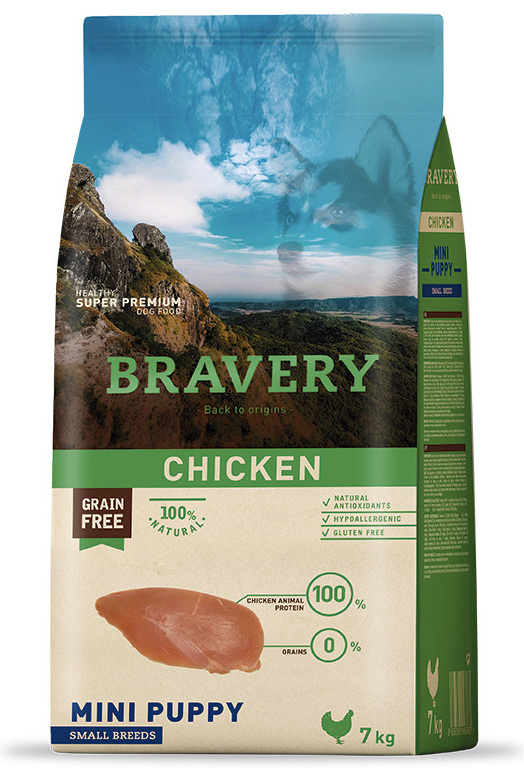 BRAVERY dog PUPPY  mini CHICKEN  - 2 x 7kg