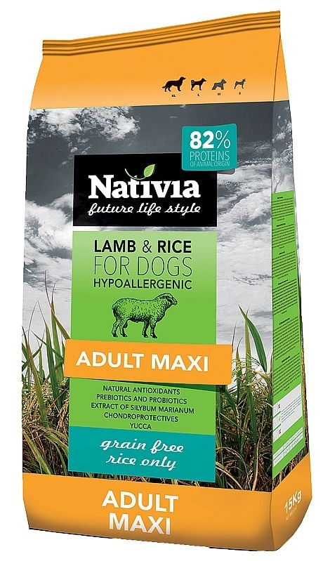 NATIVIA dog ADULT MAXI lamb   - 15kg