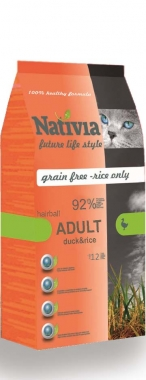 NATIVIA cat  ADULT duckrice HAIRBALL - 10kg