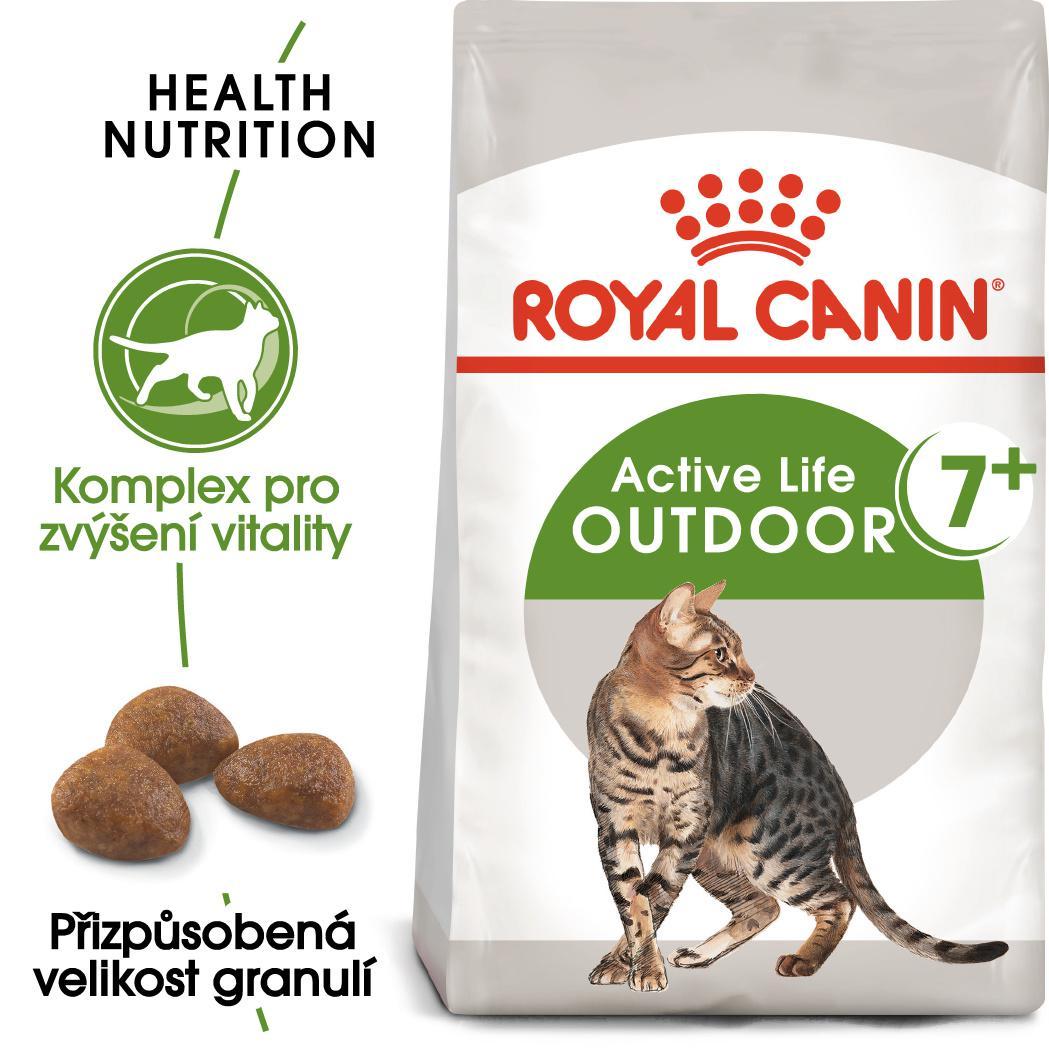 Royal Canin cat  OUTDOOR + 7 - granule pro stárnoucí kočky s častým pohybem venku - 2kg
