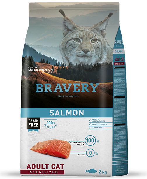 BRAVERY cat STERILIZED salmon - 2 x 7kg