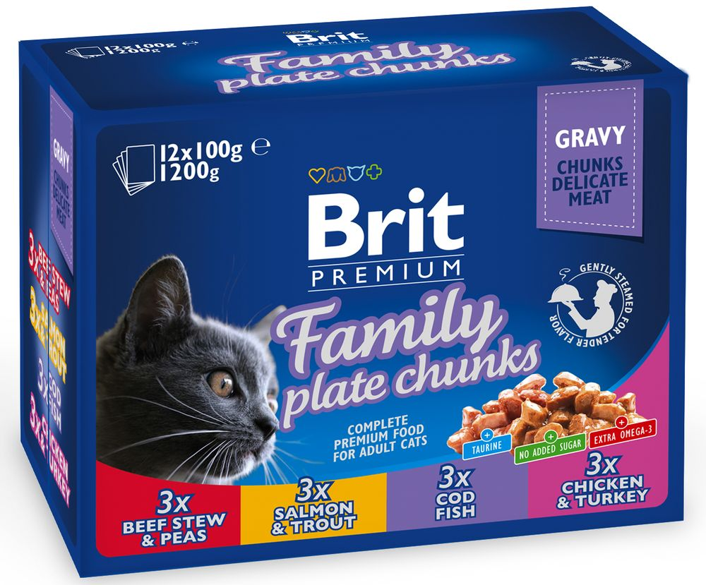 BRIT cat kapsa FAMILY PLATE - 12x100g
