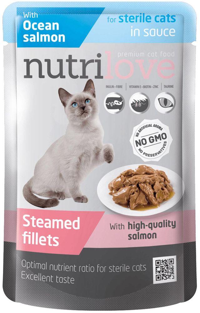 NUTRILOVE cat kaps. STERILE losos/šťáva - 85g