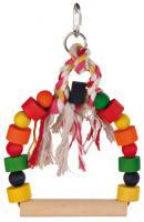 Trixie  ptáci Dřevěná houpačka s ozdobami malá 13x19cm