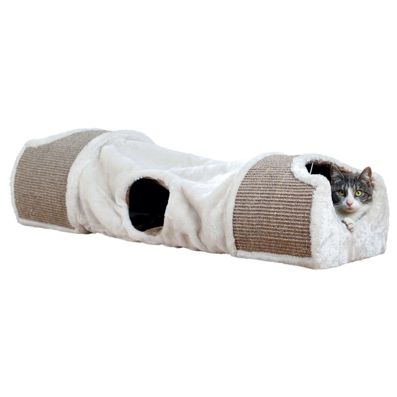 Plyšový tunel pro kočky béžový - 110x30x38cm