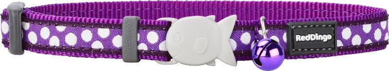 Obojek RD  cat WHITE spots on PURPLE - 12mm20-32cm