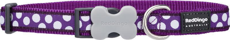Obojek RD WHITE spots on PURPLE - 1,220-32cm